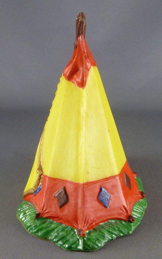 Clairet - far west - indien - accessoires - tente 2ème modèle jaune citron & rouge