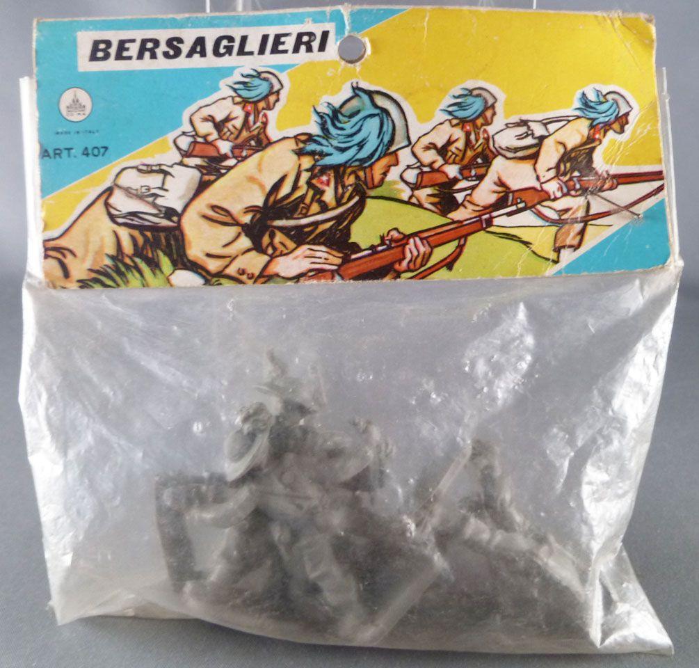 Co. Ma. Italie ref 407 Bersaglieri 5 Plastic figures 54 mm Mint in Bag