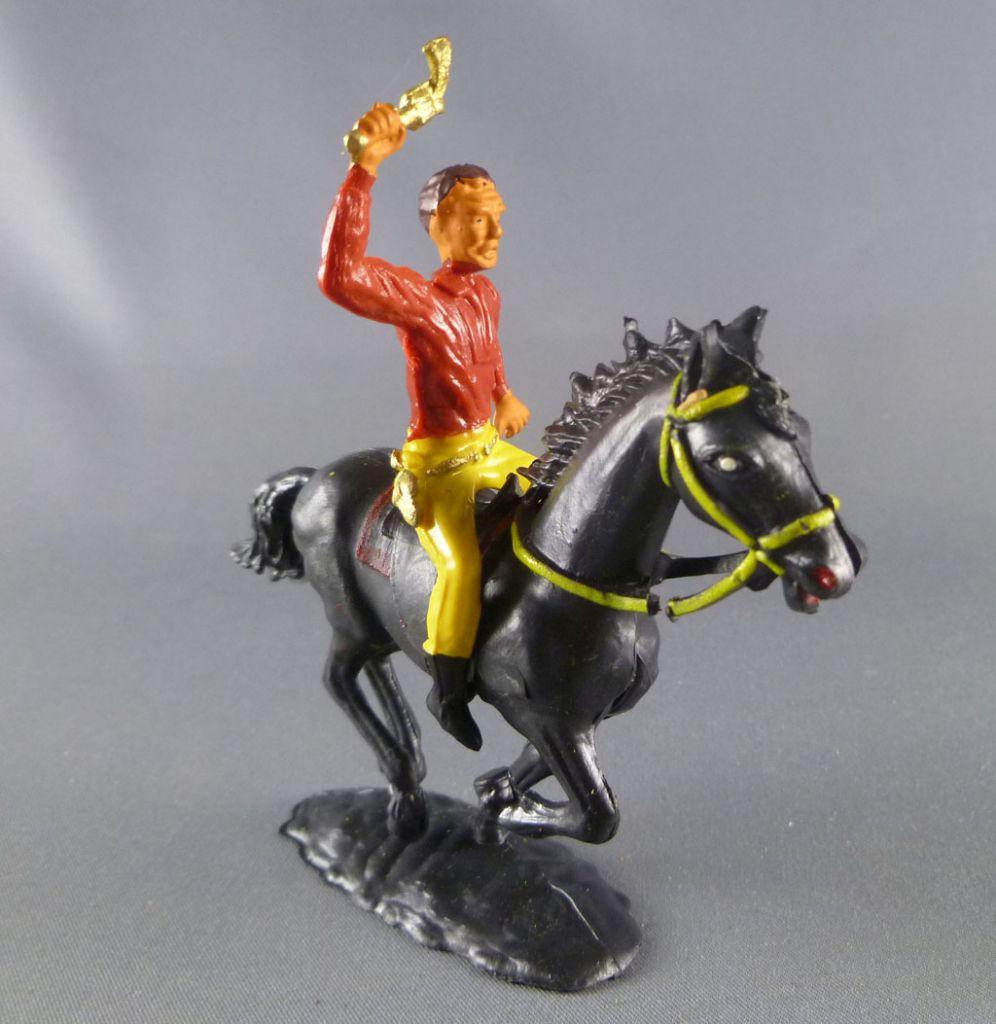 Cofalu - 54mm - Western - Cow-Boy Cavalier brandissant révolver cheval noir