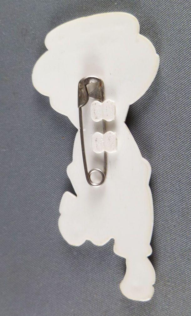 Coluche Plastic Pin Jewelry Sos Racisme \'\'Réveille toi mon pote ils sont devenus fous!!\'\'