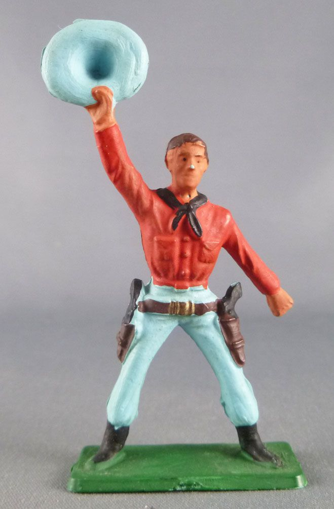(copie) Starlux - Cow-Boys - Series 57 (Regular) - Footed Holding hat (red & blue) (ref 127)