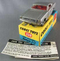 Corgi Toys 320 - Ford Mustang Fastback 2+2 Grise Proche Neuf Boite Repro