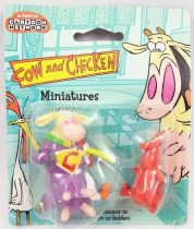 """Cow and Chicken - 2\"""" miniature figures - Supercow & Red Guy - Kids Logistix Retail 1999"""