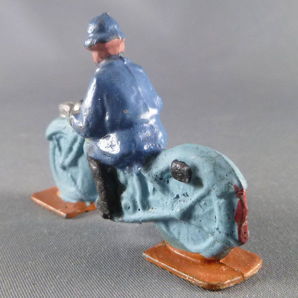 D.C. (Domage & Cie) - Figurine Plomb Creux 45 mm - Moto Bleue Motocycliste Soldat Casque Adrian