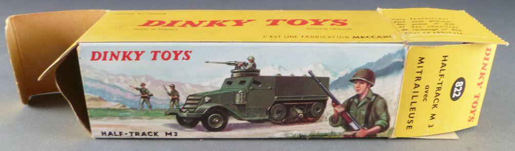 rf 822 DINKY TOYS militaire Half track avec mitrailleuse chenilles d/'origines