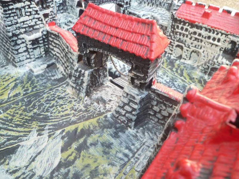 Elastolin - 40mm (type) - Moyen-âge - Chateau Fort Grand Modèle 2 Ponts Levis