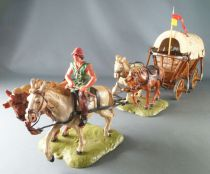 Elastolin - Middle Age - Covered Combat Carriage 4 horses with driver (ref 9874)