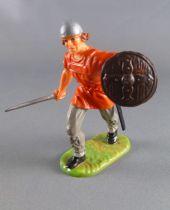 Elastolin - Moyen-âge - Homme d\'arme piéton marchant épée sur le coté (rouge) (réf 8833)