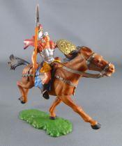 Elastolin - Romains - Cavalier lance main  droite jupe jaune cheval marron (réf 8457)