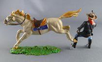 Elastolin - Us cavalerie - Cavalier avec révolver cheval blanc (réf 7030)