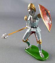 Elastolin - XV / XVIII siècle - Garde Suisse Pièton combattant (bouclier rouge) avec masse d\'arme (réf  8932)