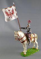 Elastolin Preiser -  XIV / XVIII siecle - Lansquenets Cavalier Porte-Drapeau (réf 9075)