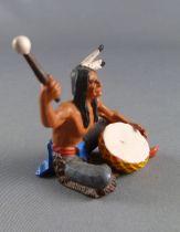 Elastolin Preiser - Indiens - Piéton assis tambour pantalon gris (réf 6836)