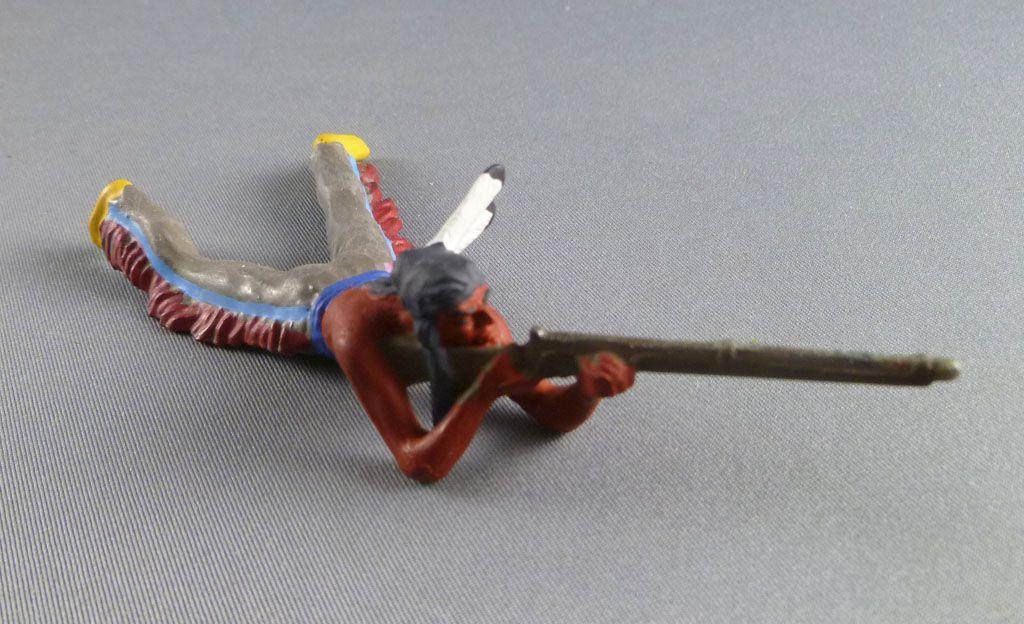 Elastolin Preiser - Indiens - Piéton tireur fusil allongé (réf 6842)