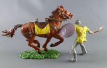 Elastolin Preiser - Moyen-âge - Cavalier chargeant hache Tunique jaune cheval maron (réf 8854)