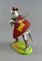 Elastolin Preiser - Moyen-âge - Piéton Chevalier en armure combattant épée (réf 8804)