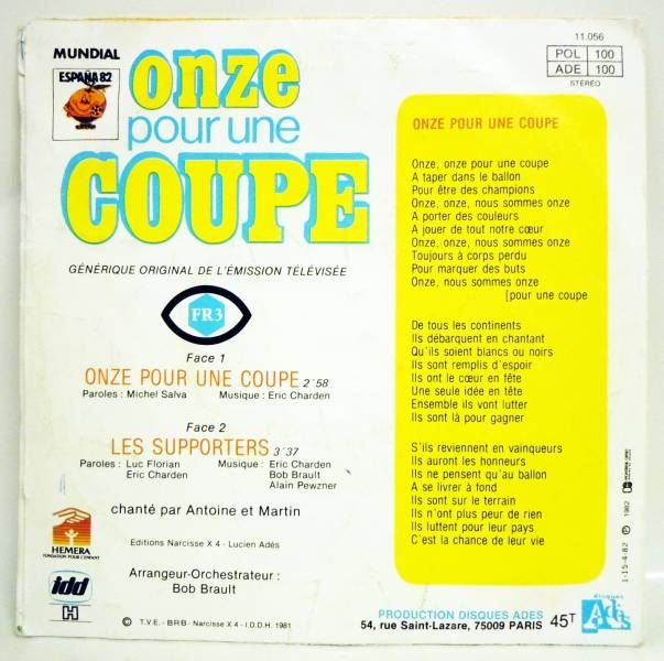 Eleven for a Goblet - Mini-LP Record - Original French TV series Soundtrack - Ades Records 1982