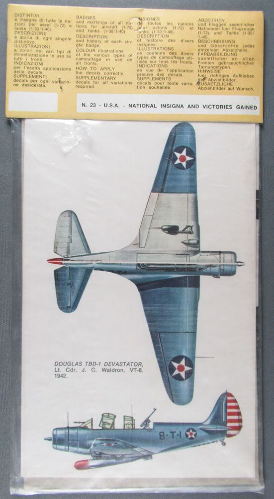 Esci - Planche de Décalcos N°23 - Usa National insignia & Victory Gained 1/72 1/35 - Neuf Blister
