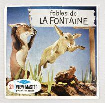 Fables de La Fontaine - View-Master (Sawyer\'s Inc.) - Pochette de 3 disques (21 images stéréo) et Livret
