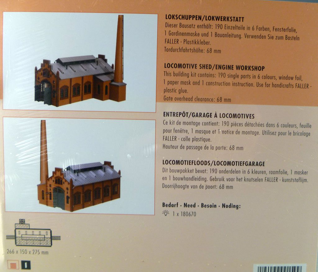 Faller 120159 Ho Locomotive Shed Engine Workshop Mint in sealed box