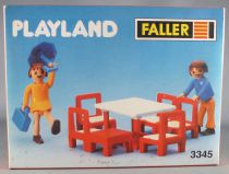 Faller Playland 3345 2 Figurines Articulée Table Chaises Neuf Boite Autoland E-Train Playtrain