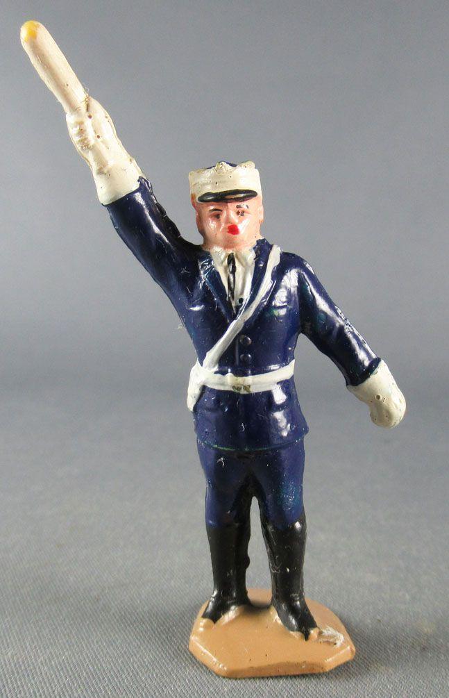 Figurine Plastique 48 mm - Agent Circulation Bâton Bras Droit Levé Police Policier TdF 2