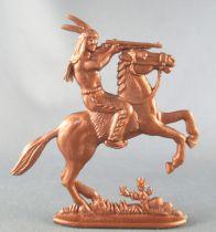 Figurine Publicitaire Café Mexciq - La Conquête de l\'Ouest - Cavalier indien tireur fusil
