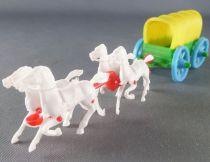 Figurine Publicitaire Mir - Far West - Chariot Baché 4 Chevaux Blancs