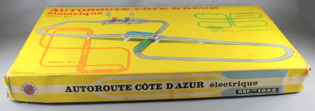 FJ France Jouets Réf 1042 Coffret Autoroute Cote d\'Azur Electrique Circuit Autocars Station Service