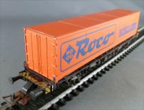 Fleischmann Ho Db Low Loader Wagon Lbs 598 with 40\'\' Roco Container