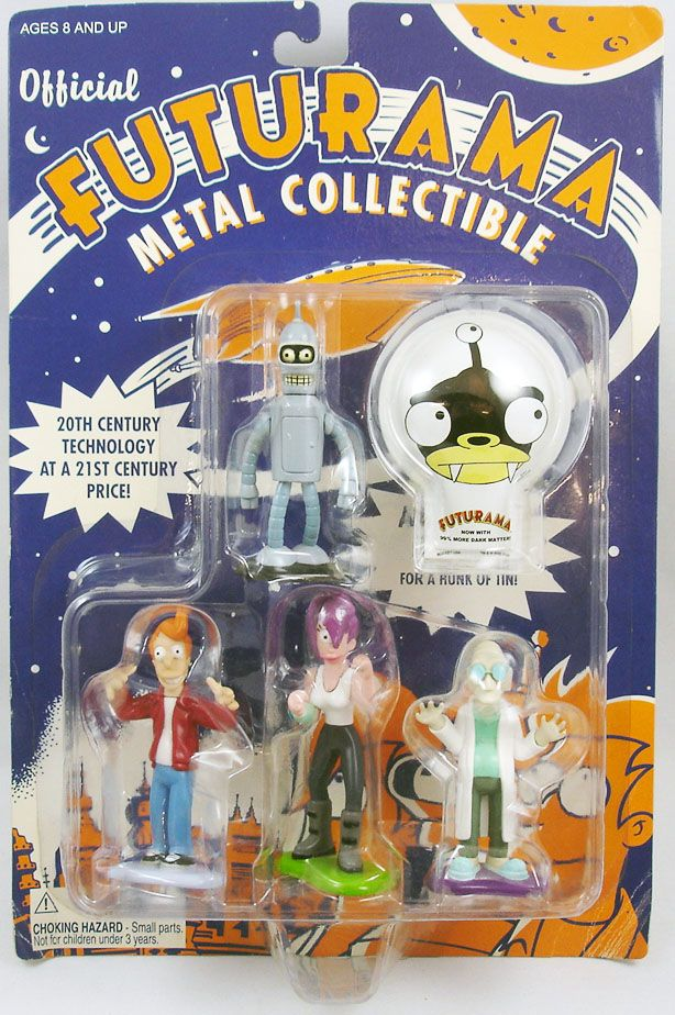 futurama___rocket_usa___figurines_metal__fry__leela__bender__pr._farnsworth