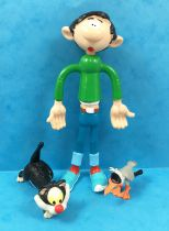 Gaston Lagaffe - Figurine Flexible Quick - Gaston 12cm & son Chat et la mouette