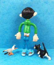 Gaston Lagaffe - Figurine Flexible Quick - Gaston 12cm & son Chat et la mouette