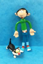 Gaston Lagaffe - Figurine Flexible Quick - Gaston 12cm & son Chat