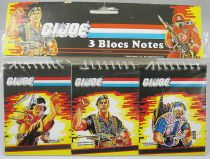 G.I.Joe - Set de 3 blocs notes : Quick Kick, Flint, Tele-Viper - Hasbro France 1986