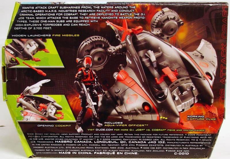 G.I.JOE 2009 - Mantis Attack Craft & Aqua-Viper Officer (loose avec boite)