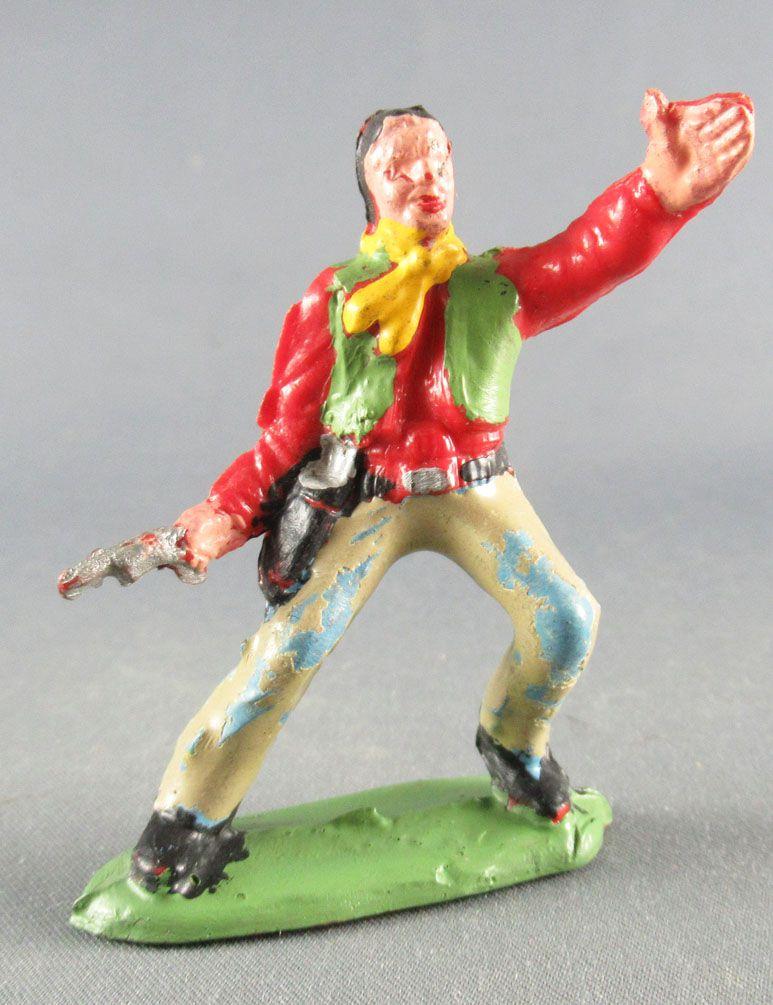 Guilbert - Wild West - Cow-boy 1 pistol left arm up red shirt