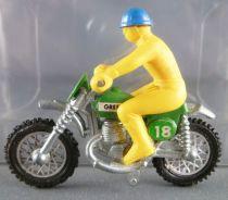 Guisval Moto de cross Greeves N°18 verte pilote jaune