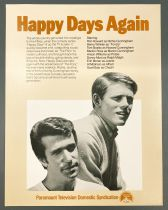 """Happy Days - Paramount Pictures (1979) - Promotional Information Sheet \""""Happy Days Again\"""""""