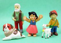 Heidi - Zuiyo - Série de 5 figurines PVC : Heidi, Pierre, Grand-Père, Blanchette, Hercule