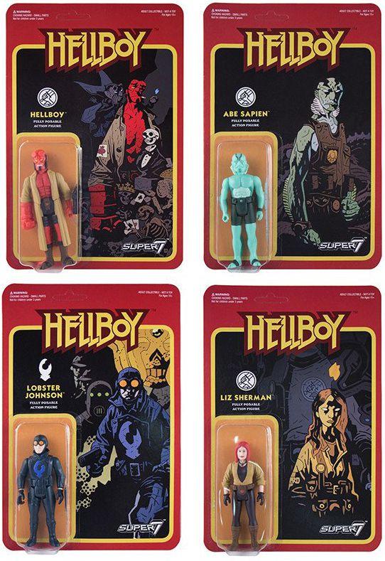 Hellboy - Super7 - Set of 4 Re-Action figures : Liz Sherman, Abe Sapien, Lobster Johnson, Hellboy