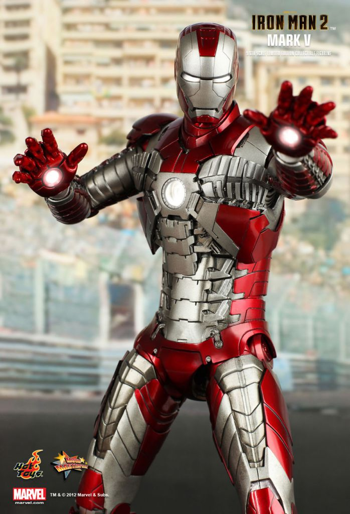 "Iron Man 2 - Iron Man Mark V - 12"" figure Hot Toys Sideshow MMS 145"