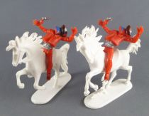 JEAN Jean Hoefler - Wild-West- Mounted 2 Masked Wounded Outlaws White Horses West Germany