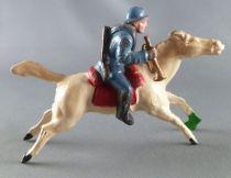 J.F. Le Jouet Fondu - Figurine Plomb Creux 54 mm - Cavalier Chasseur Clairon casque Adrian