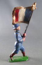 J.F. Le Jouet Fondu - Figurine Plomb Creux 54 mm - Fantassin Bleu Horizon Porte-Drapeau