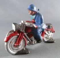 J.F. Le Jouet Fondu - Figurine Plomb Creux 54 mm - Moto Soldat Casque Adrian