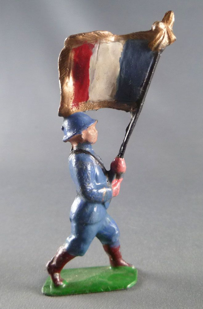 J.F. Le Jouet Fondu - Lead Soldiers 54 mm - French  Infantry Blue Flag Holder