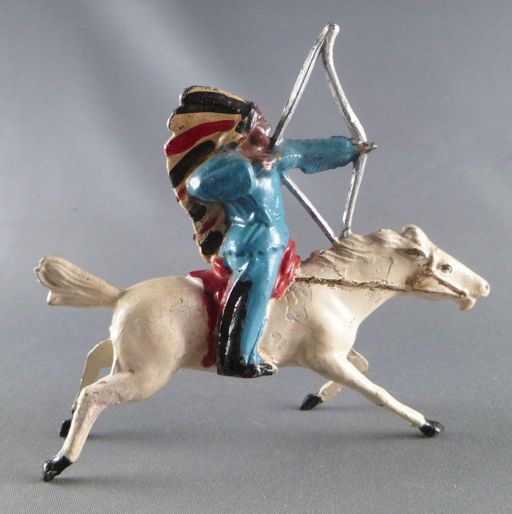 J.F. Le Jouet Fondu - Lead Soldiers 54 mm - Indian Mounted Firing Bow