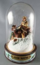 John Wayne - Franklin Mint Glass Dome Sculpture - Mounted Rider in the Snow