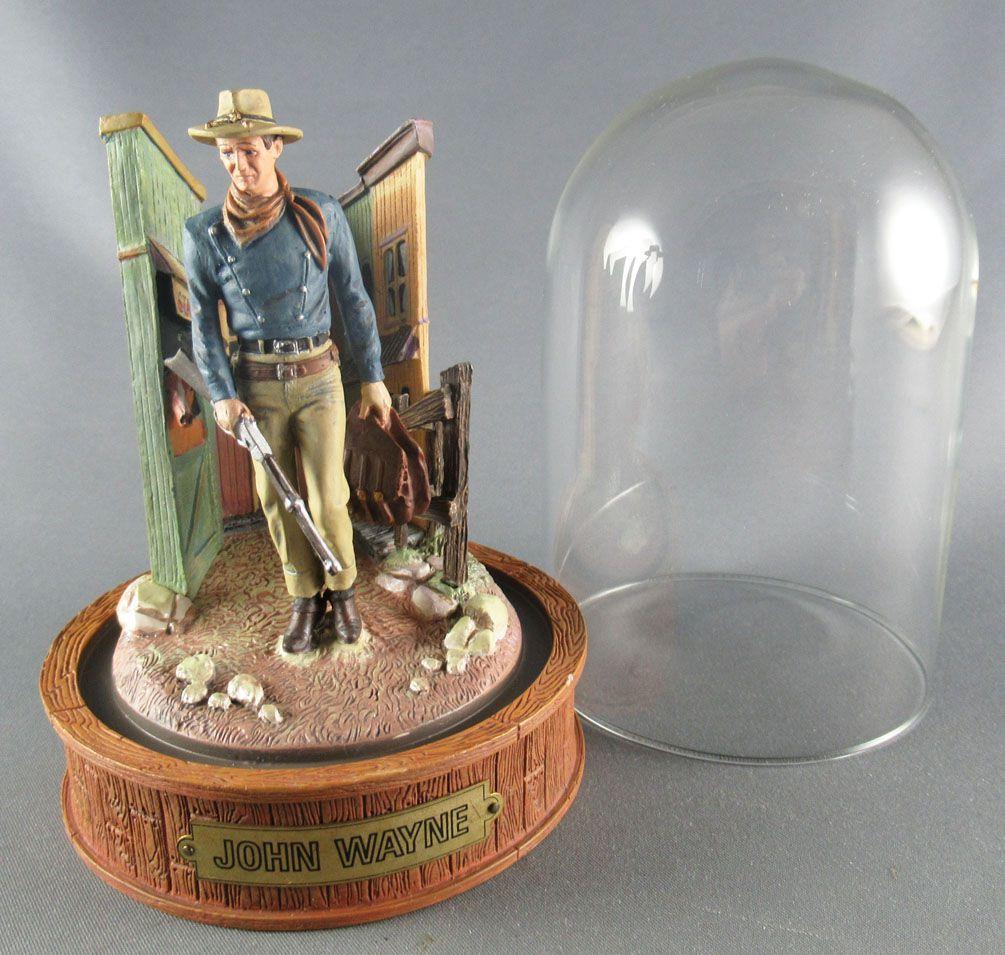 John Wayne - Franklin Mint Glass Dome Sculpture - Walking Rifle in Hand & Saddlebags